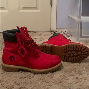 Red 6Inch Timberlands size 9.5 fits like a 10.